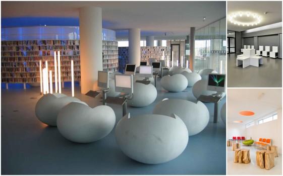 Kursi-kursi  keren di Perpustakaan Universitas Amsterdam